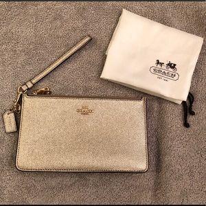 EUC Coach Gold Pebbled Leather Double Zip Wallet